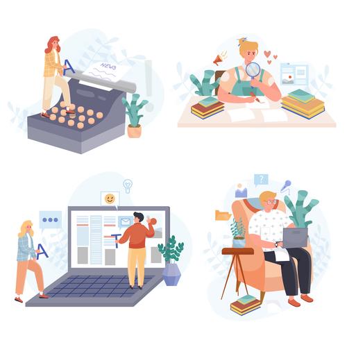 Journalism concept scenes vector