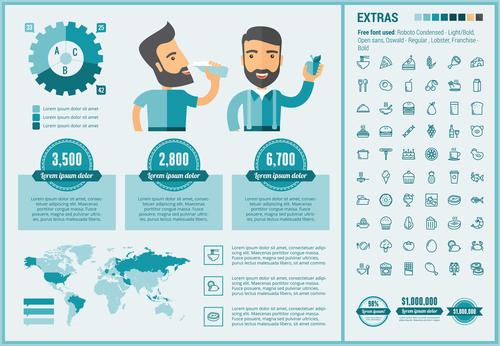 Juice sales infographic elements vector