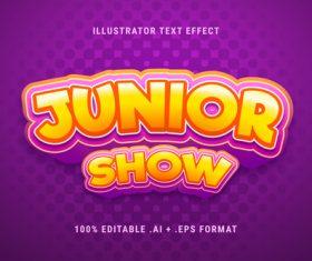 Junior show 3d font editable text style effect vector