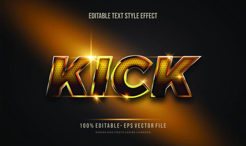 Kick editable font 3d vector