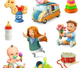 Kids and toys vector icons
