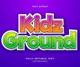 Kidz ground 3d font editable text style effect vector