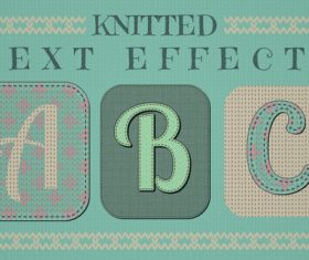 Knitted font patterns vector