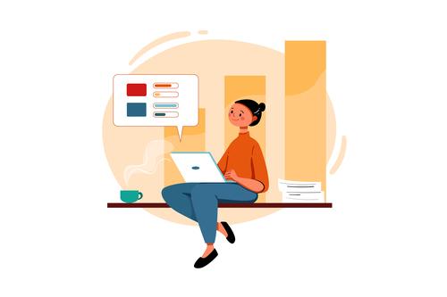Lady cartoon illustration vector