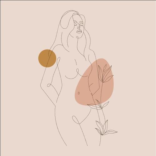Line sketch woman vector