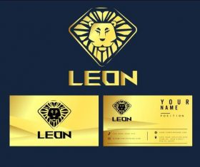 Lion logo business card vector