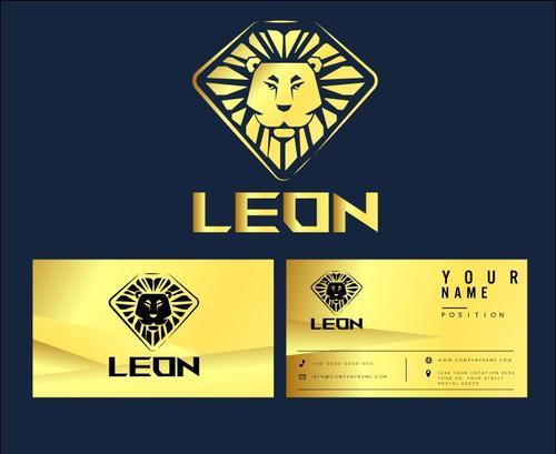Lion logo business card vector