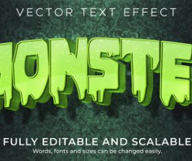 Liquid 3d editable text style effect vector