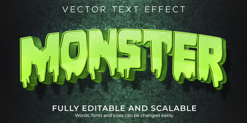 Liquid 3d editable text style effect vector