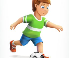 Little football player vector icon