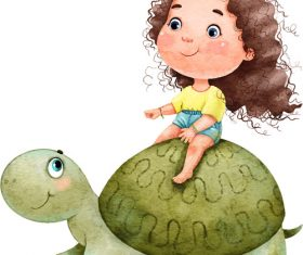 Little girl cartoon illustration vector sitting on the back of a tortoise