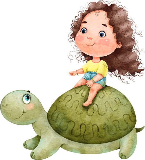 Little girl cartoon illustration vector sitting on the back of a tortoise
