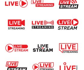 Live stream label design vector