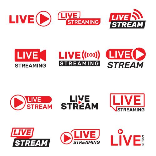 Live stream label design vector