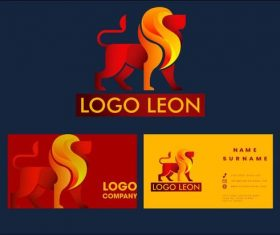 Logo lion business card vector