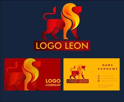 Logo lion business card vector