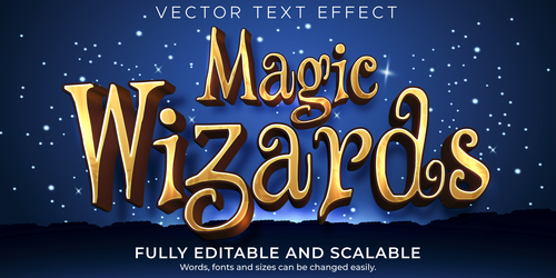 Magic wizards 3d editable text style effect vector