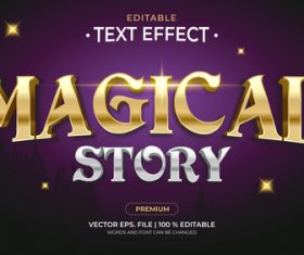 Magical story editable font 3d vector