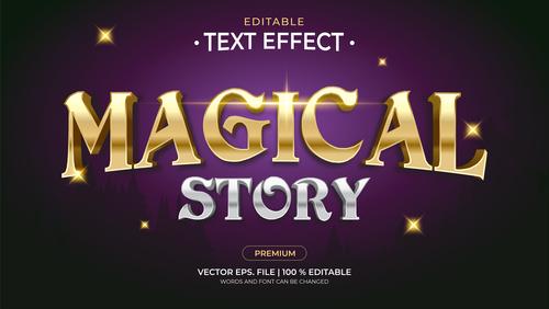 Magical story editable font 3d vector