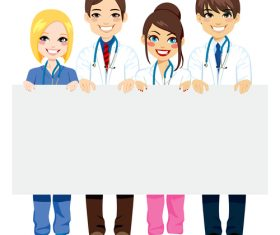 Male and female doctors holding white board cartoon characters vector