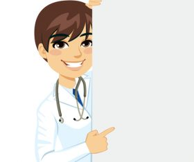 Male doctor cartoon character vector pointing finger at whiteboard