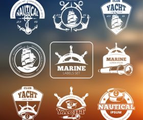 Marine nautical vector labels on blurred background