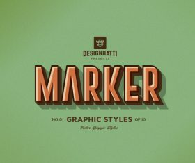 Marker graphic styles text styles vector