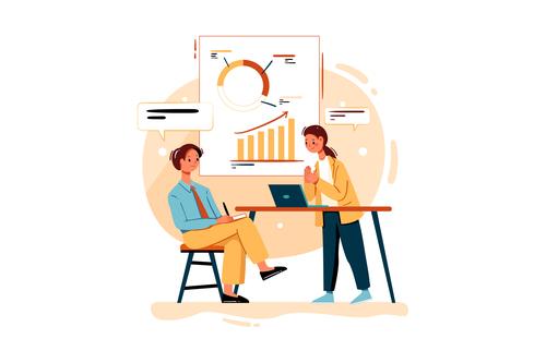 Marketing analysis cartoon illustration vector