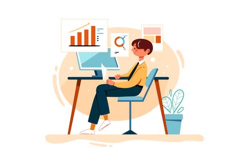 Marketing report cartoon illustration vector