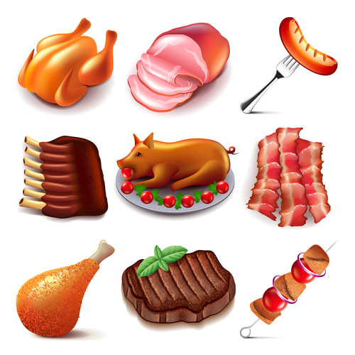 Meat food icons realistic vector