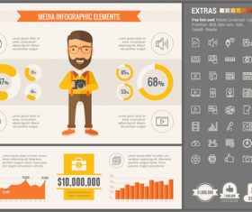 Media infographic elements vector
