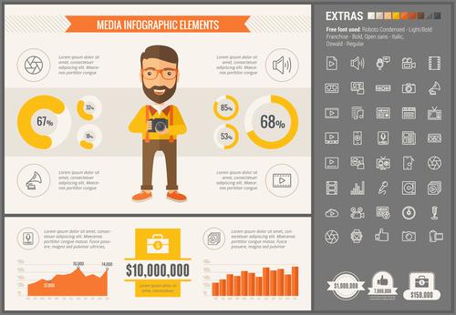 Media infographic elements vector