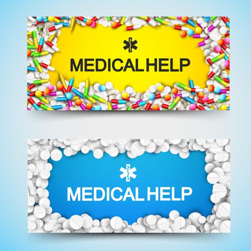 Medical help banner vector