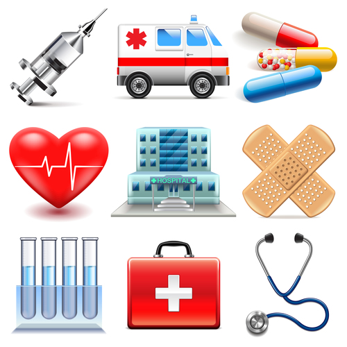 Medical icons realistic vector