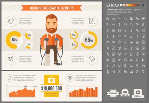 Medicine infographic elements vector