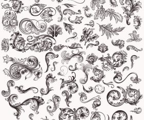 Mega collection of hand drawn swirls for design vector