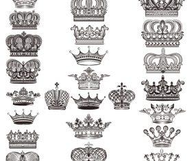 Mega collection or set of vector detailed crowns for design