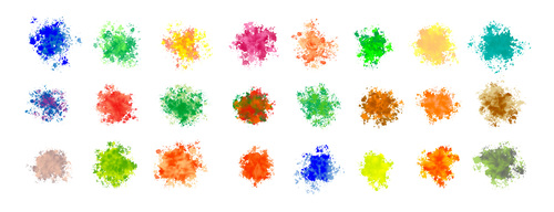 Mega set watercolor splatters many colors vector