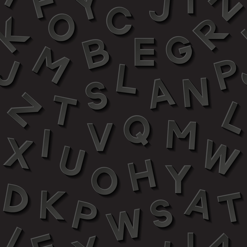 Messy alphabet black background vector