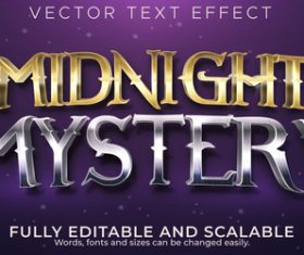 Midnight mystery editable font 3d vector