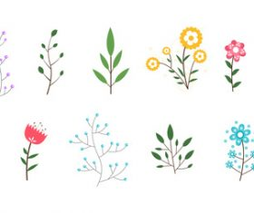 Minimal flowers leaves vector