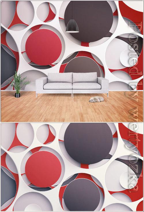 Modern stylish minimalistic 3d geometric graphic tv background wall vector