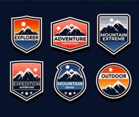 Mountain symbols vector set