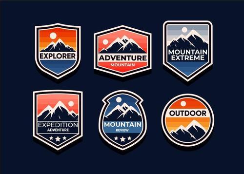 Mountain symbols vector set