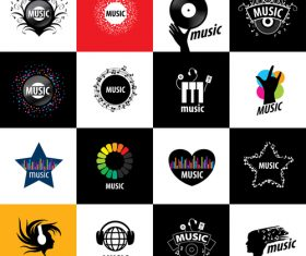 Music art icon collection vector