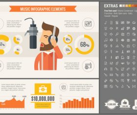 Music infographic elements vector