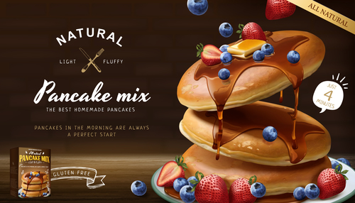 Natural pancakes3d style vector
