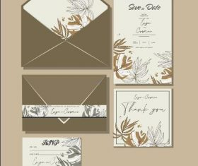 Natural plant cover wedding invitation card design vector