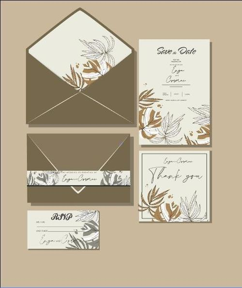 Natural plant cover wedding invitation card design vector