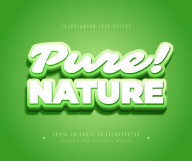 Nature 3d font editable text style effect vector